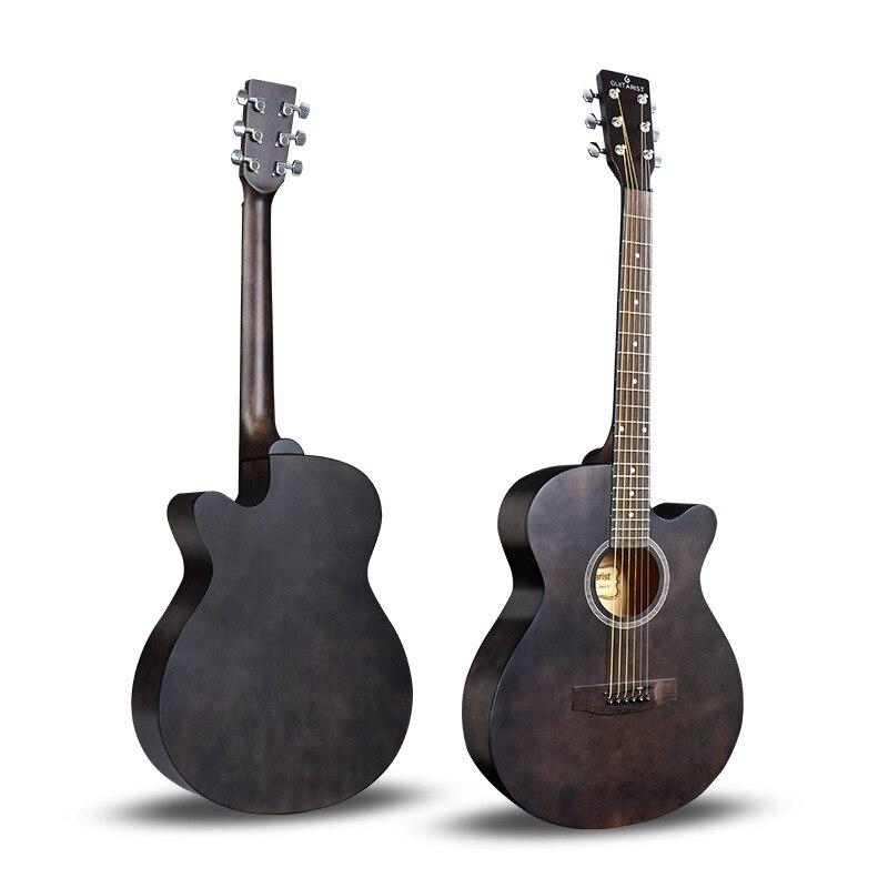 Guitare guitariste 40 41 pouces guitare acoustique bois d'acajou finition brillante touche palissandre guitarra avec cordes de guitare - 2