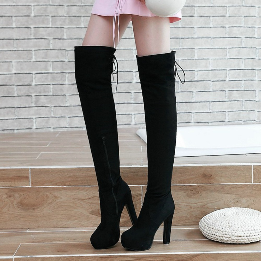 Faux Suede Thigh Boots Thick High Heel Thigh Boots Fashion Platform Side Zipper Over The Knee Shoes Woman Red Blue Black 2018 women platform chunky high heel over the knee boots side zipper winter warm thigh boots fashion woman shoes white black