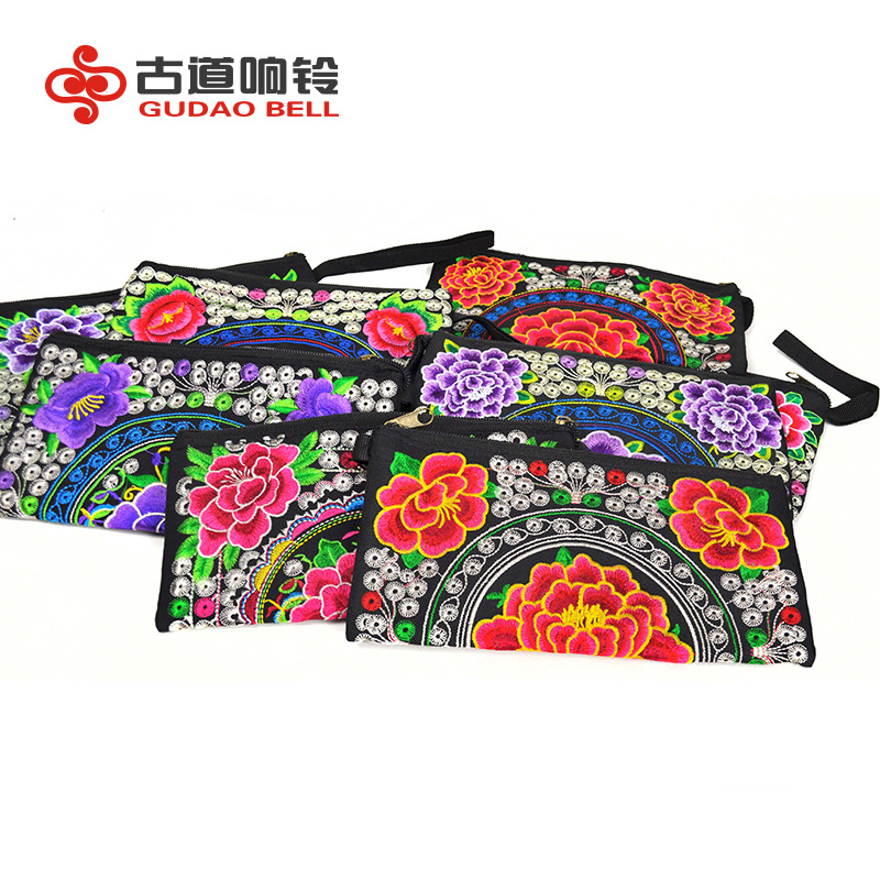 women s embroidery ethnic mini wallet hand grasp bag mobile drop shipping women s men s