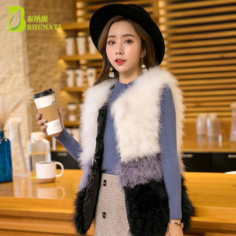 Mode vraie laine d'autruche turquie fourrure femmes gilet manteau plume Patchwork naturel fourrure gilet veste