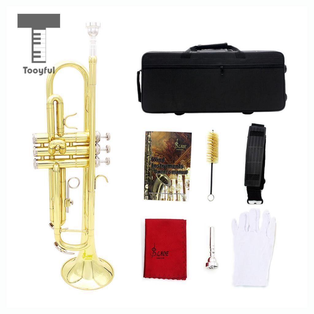 все цены на Tooyful Professional Brass Bb Trumpet with Storage Bag Mouthpiece Cleaning Brush Cloth Gloves Strap Set Brass Instrument Golden