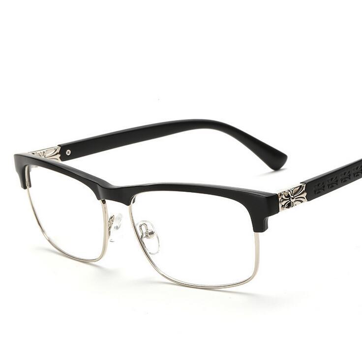 ae455021f9f Latest Trend Matel Metal Cross Eye Glasses Frames For Women UV400 Men  Chrome Retro Eyeglasses W808