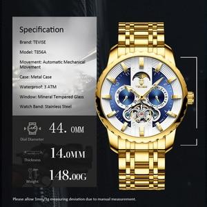 Image 4 - TEVISE Watch Automatic Tourbillon Men Watch Moon Phase Luminous Waterprof Mechanical Wristwatches Watch Tool T856A Drop Ship