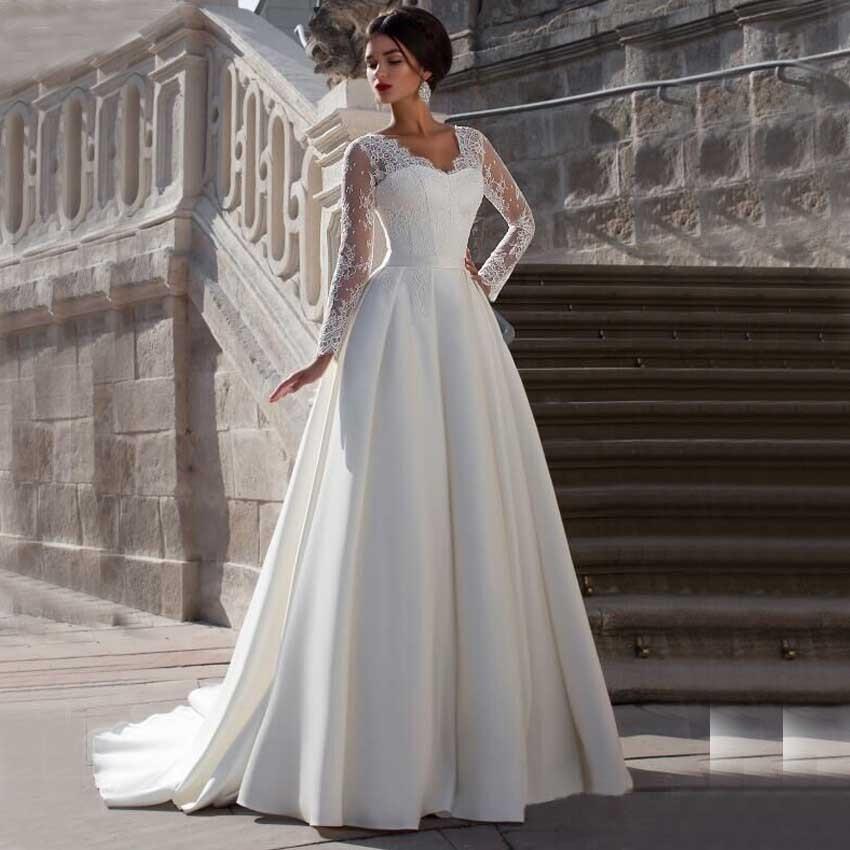 2015 new elegant sweetheart long full sleeve white ivory for Elegant satin wedding dresses