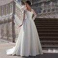 2015 Nova Elegant Querida Longo Completo Manga Branco Marfim Casamento Vestido de Cetim vestido de Noiva Capela Train A Linha Zipper F144