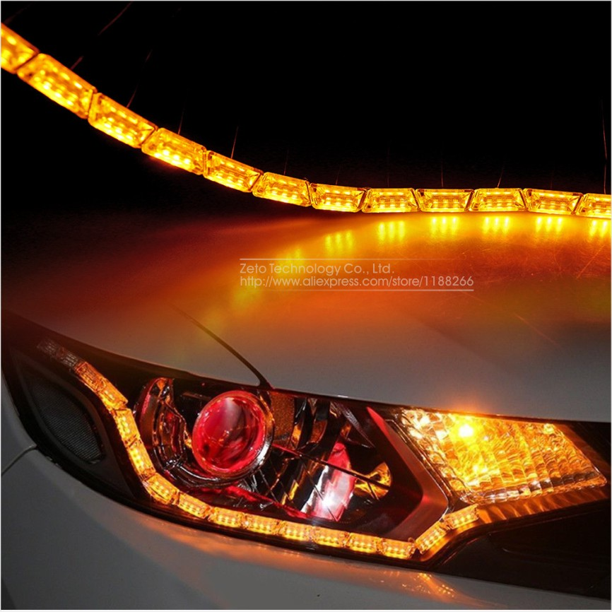 2x Car Flexible Led Strip Light Double Color Crystal Flexible Tube Light  DRL/ Daytime Running Light Waterproof Car Styling In Car Light Assembly  From ...