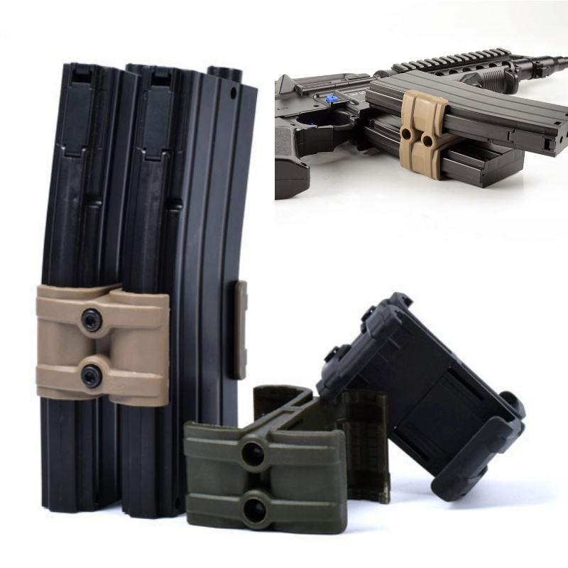 Military Tactical Rifle Gun M4 MAG595 Magazine Parallel Connector Double Mag Coupler Clip Holder Airsoft Hunting Accessories