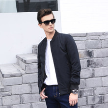 2016New Arrival Spring Men's Casual Jackets Solid Coats Male Fashion Slim Stand Collar Short brand V-Neck clothing bomber jacket