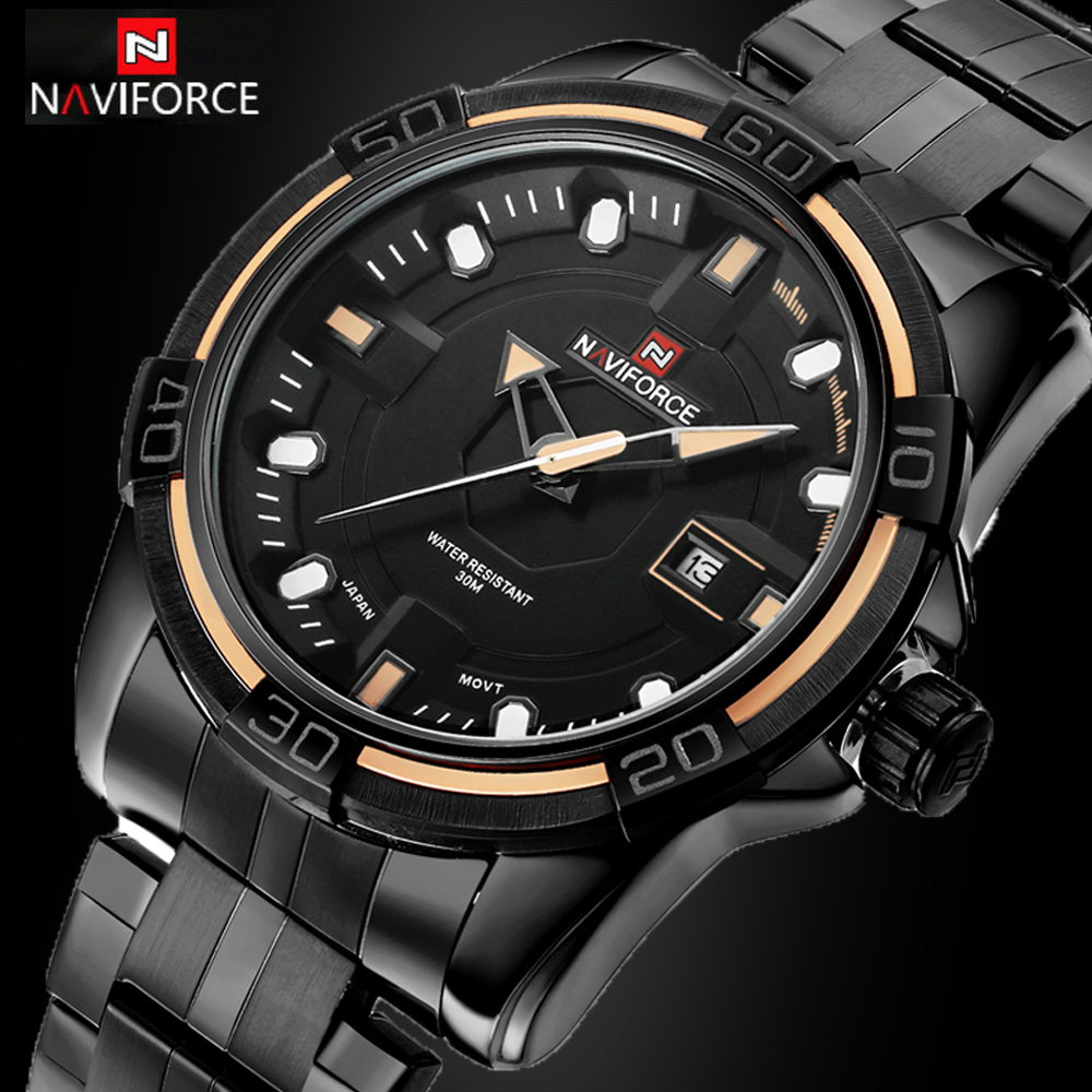 NAVIFORCE Watch Luxury Brand Men Military Sports Watches Men Waterproof Full Steel Quartz Wristwatches Black relogio masculino 2016 biden brand watches men quartz business fashion casual watch full steel date 30m waterproof wristwatches sports military wa