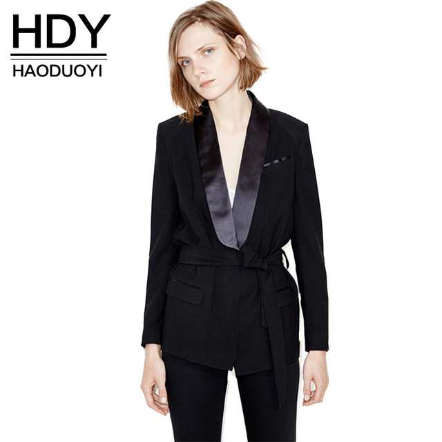 HDY Haoduoyi 2017 Autumn Fashion Women Solid Black Waist Tie Sequin Plunge Neck Trench Coat Caual OL Pockets Long Sleeve Coat