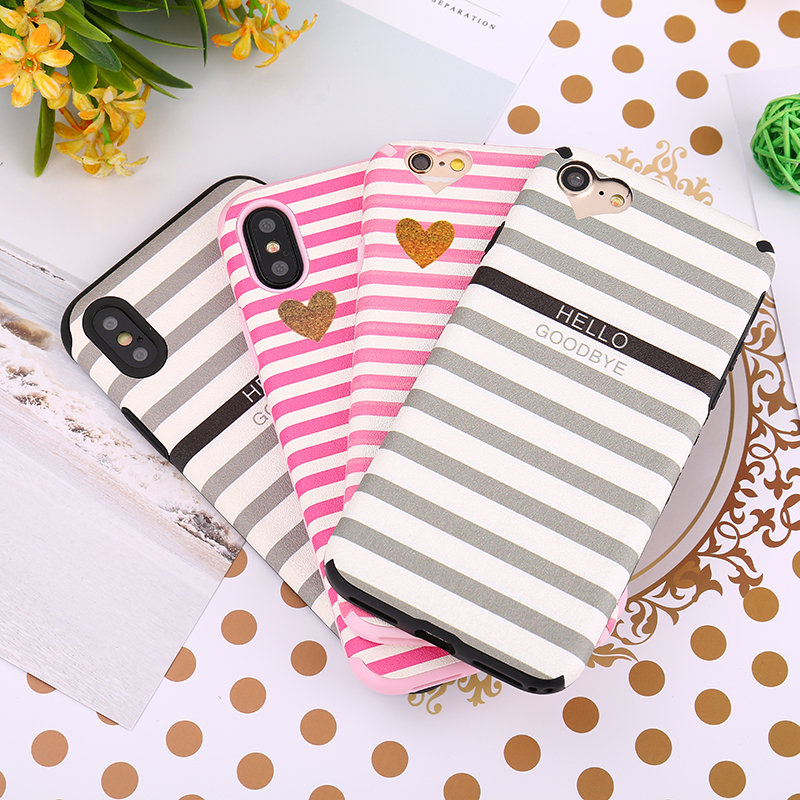 Galleria fotografica PAWPAW For iPhone 7 Case X 8 7 6 6S Plus Love Heart Stripe Double Color Soft Silicone Cover For iPhone 6 6s 7 8 Plus X Cases