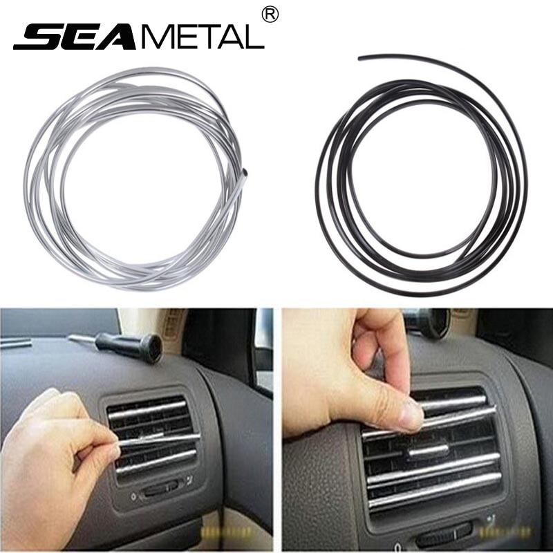 1m2m3m Car Styling Tiras Interior Ar Condicionado Saída de Ventilação Grade Cromada Guarnição Decoração Tira Marca de Adesivos em Carro-Styling
