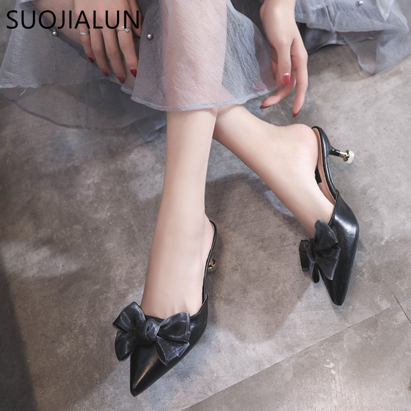 SUOJIALUN Women Slippers Summer Butterfly Knot Shoes Women Sexy Thin High Heels Pointed toe Mules Shoes Female Slides venchale 2018 summer new cow leather solid outside butterfly knot high thin heel three colors casual pointed toe women s slides