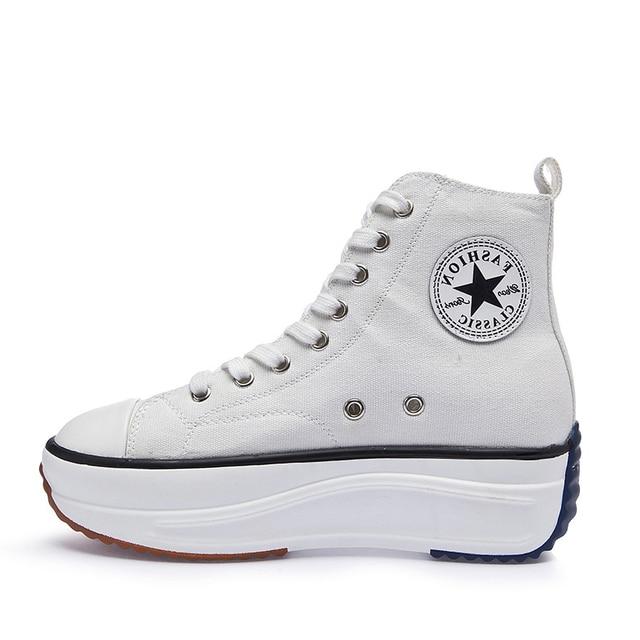 Canvas Schoenen Vrouwen Mode Trainers Vrouwen Hoge Top Sneaker Dame Herfst Schoeisel Ademend Meisje Wit Zwart SneakersSneakers voor vrouwen