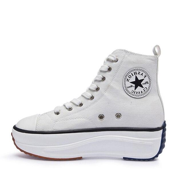 Kanvas ayakkabılar kadın moda eğitmenler kadınlar yüksek Top Sneaker bayan sonbahar kadın ayakkabı nefes kız beyaz siyah Sneakers