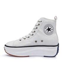 Zapatos de lona para mujer, zapatillas de moda deportivas altas para mujer, calzado femenino de otoño, zapatillas transpirables en blanco y negro para chica