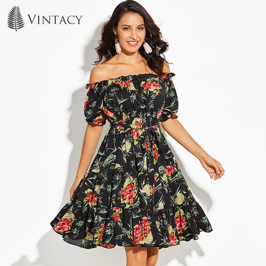 Vintacy Women's A-Line Dress Slash Neck Floral Print Vacation Backless Black Pullover 2018 Modern Fashion Women's A-Line Dress