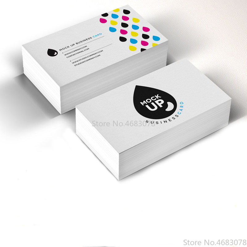 FreePrinting 100pc/200pc/500pc/1000pc/lot Paper business card 300gsm paper cards with Custom logo printing Free Shipping 90x53mm image
