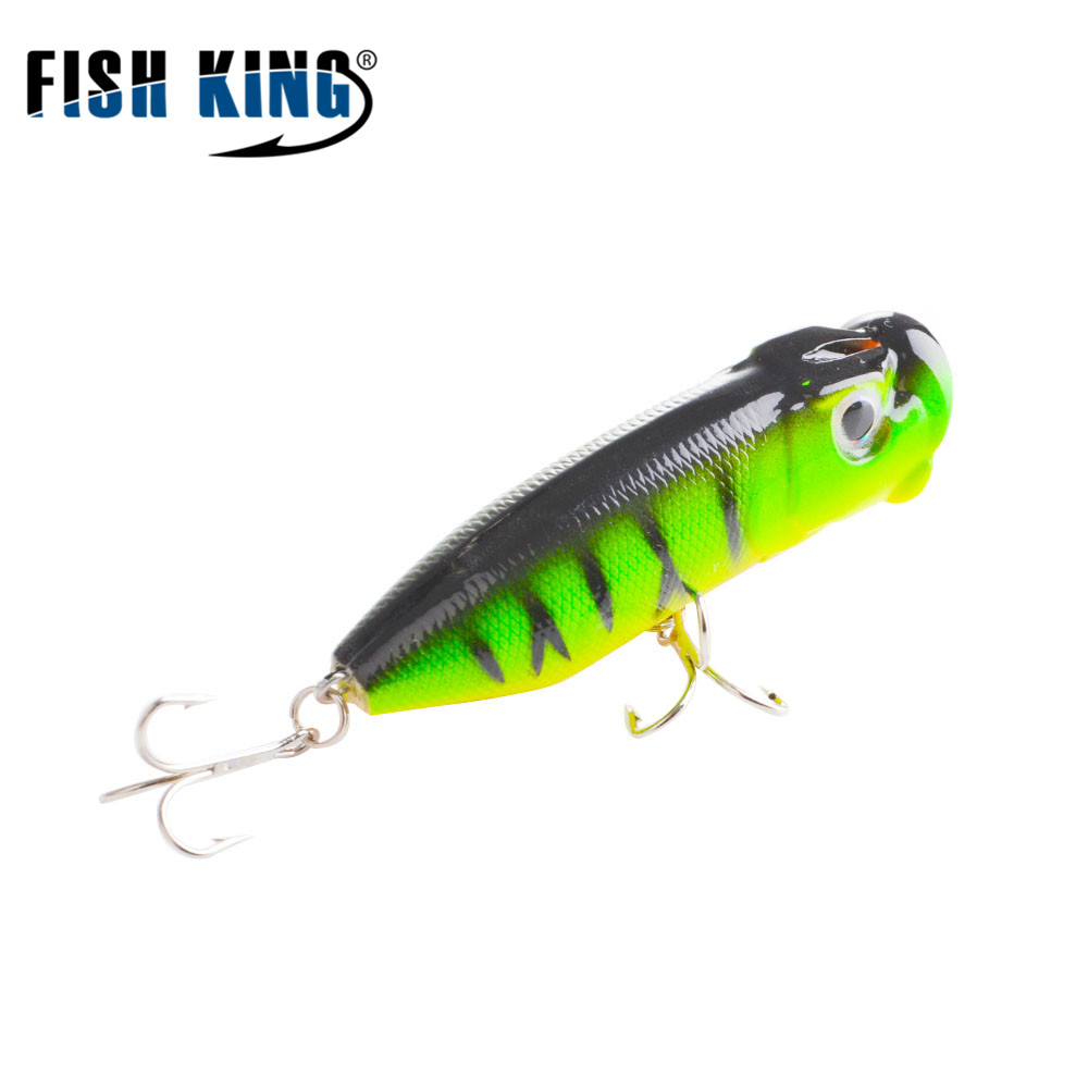 FISH KING Fishing Lure Popper Bass Hard Bait Crankbait Minnow Wobbler Topwater Floating Silicone Bait Fishing Tackle Asturie 714 allblue slugger 65sp professional 3d shad fishing lure 65mm 6 5g suspend wobbler minnow 0 5 1 2m bass pike bait fishing tackle
