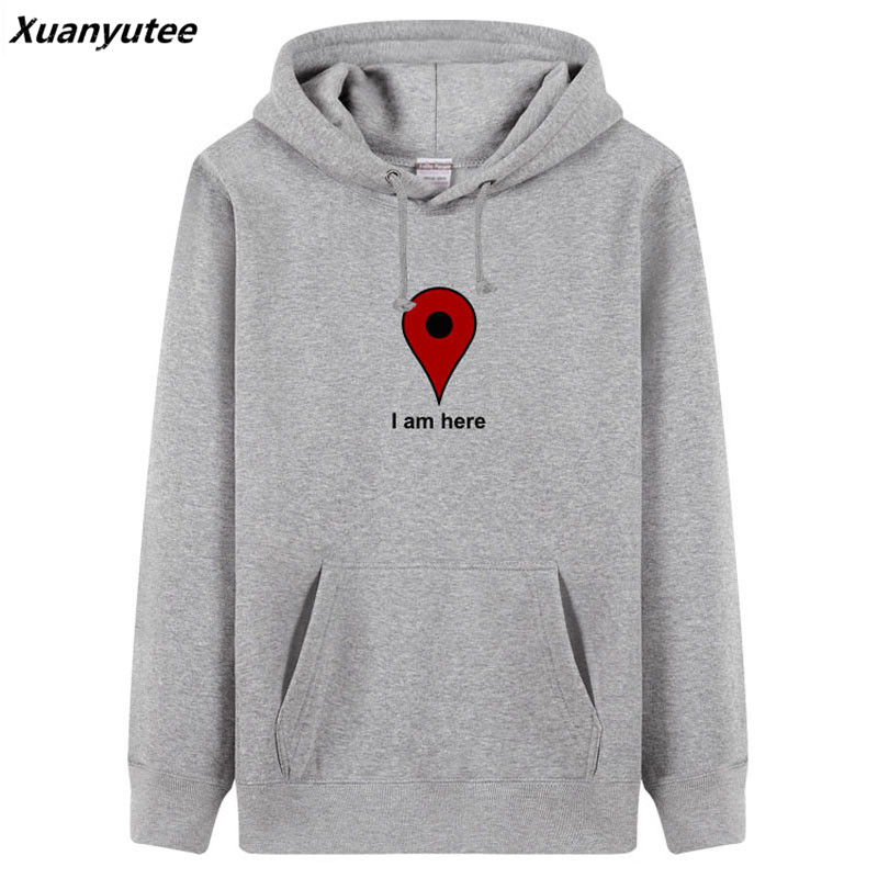 Xuanyutee Autumn Winter Men Hoodies Print I am Here Google Map Pullover Fleece Cotton Oneck Full Sleeve Casual Lover Sweat Homme ...