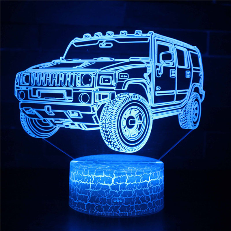 Magiclux Transporation Theme Table Lamp With ABS Base And Acryl Light Board 3D Hummer Car Modle USB Bedroom Lamp For Christmas