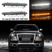 цены 1 pair LED Daytime Running Lights with Yellow Turn Signal Function For Audi Q7 2006 2007 2008 2009 DRL Waterproof IP67 Fog Lamps