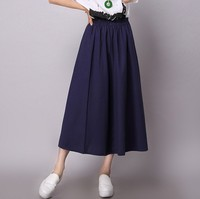 2016 Summer Style Cotton Linen Solid Women Skirts Elastic Waist Soft Comfortable Vintage Long Expansion Skirt