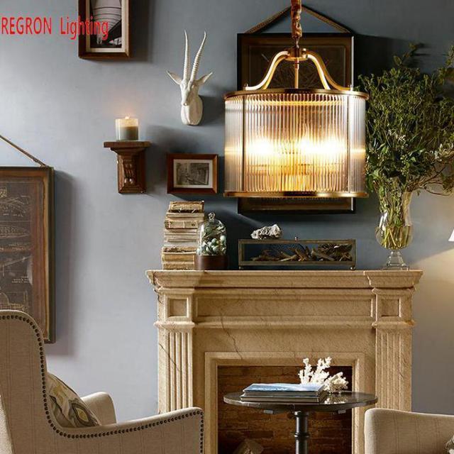 Regron Vintage Pendant Lights Gold Copper Clear Glass Pendant Lamps  For Restaurant Dressing Room Bedroom Corridor Aisle Cafe