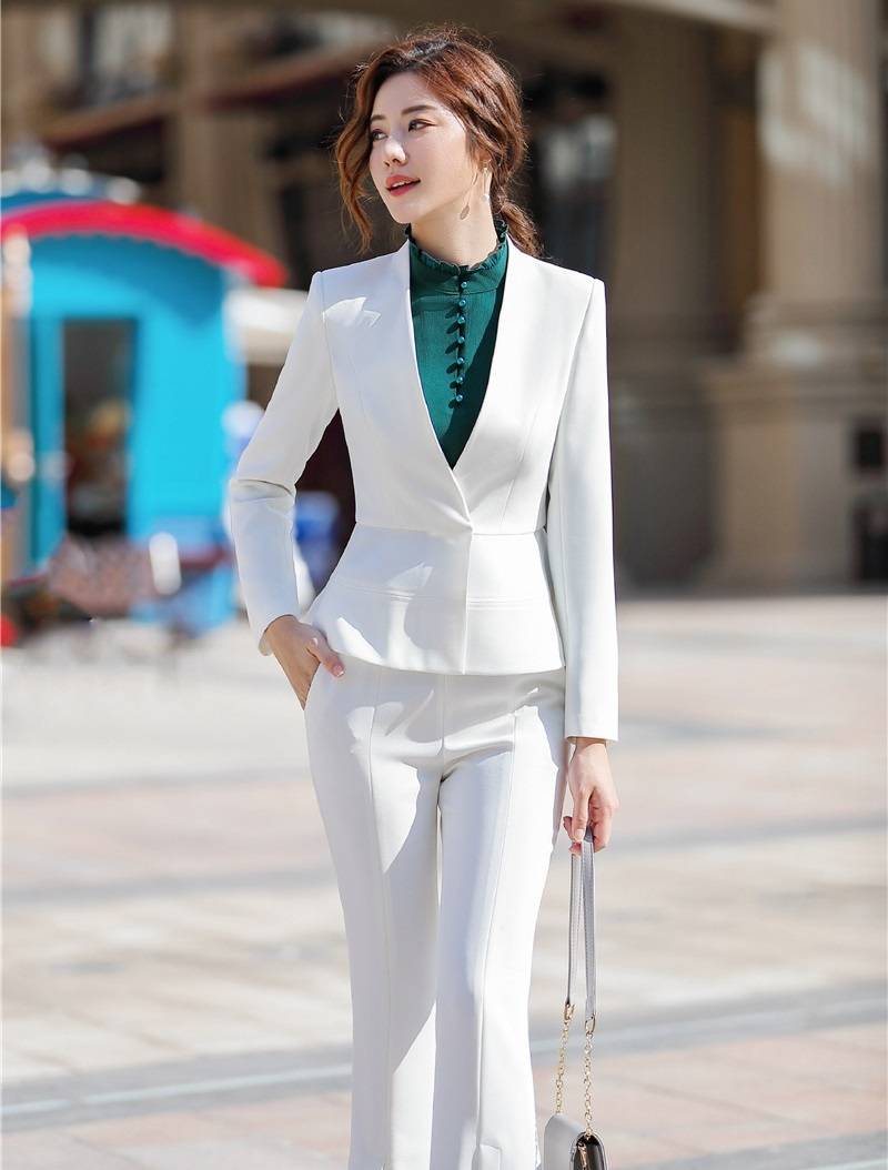 Novelty White Formal Women Business Suits With Jackets And Pants For Ladies Office Uniform Styles 2019 Spring Summer Pants Suits