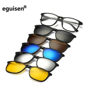 Image 1 - 새로운 브랜드 5 + 1 레트로 편광 된 근시 클립 선글라스 안경 프레임 남성 여성 5 자석 세트 미러 안경 프레임 남성