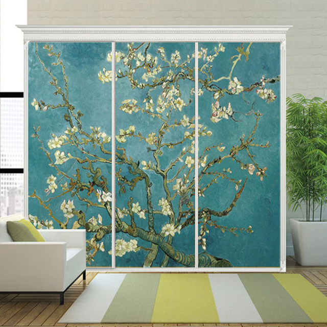 Yazi Personalized Almond Blossom Self Adhesive Light Through PVC Privacy Home Wardrobe Cover Sticker Wallpaper