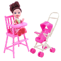 2Pcs=1pcs Baby Pink Mini Nursery Dinner High Chair with 1pcs Assembly Baby Stroller Doll Furniture Accessories for Barbie Toy