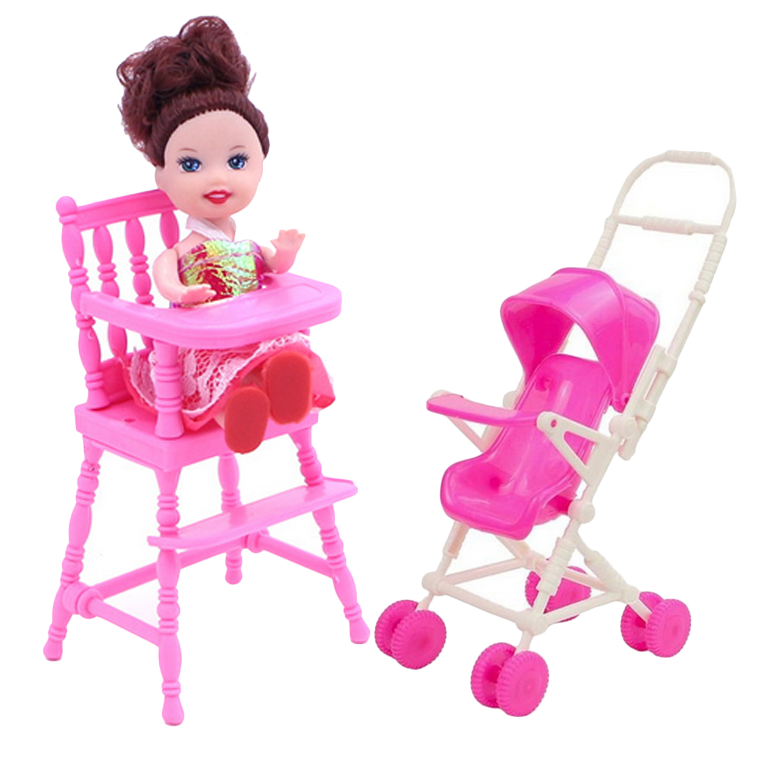 2Pcs=1pcs Baby Pink Mini Nursery High Chair With 1pcs Doll Stroller Carriage Doll House Furniture Accessories For Barbie Toy