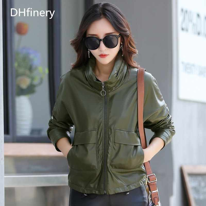 high quality leather jacket women Bust 102-118CM short design Baseball uniform Hide Hoodies vintage casual leather jackets K6721
