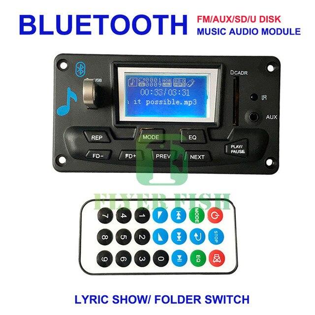 DIY Car Bluetooth Module FM Radio Audio Player 3.5mm Aux IN USB SD 12V MP3 WMA Decoder Board Folder Switch 1000Kpbs IR Remote