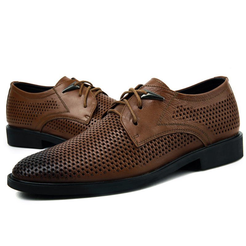 Big 37-46 Brand Genuine Leather Men Shoes Pointed Toe Lace-up Business Casual Shoes Fashion Men Oxfords Flats Shoes Black Brown