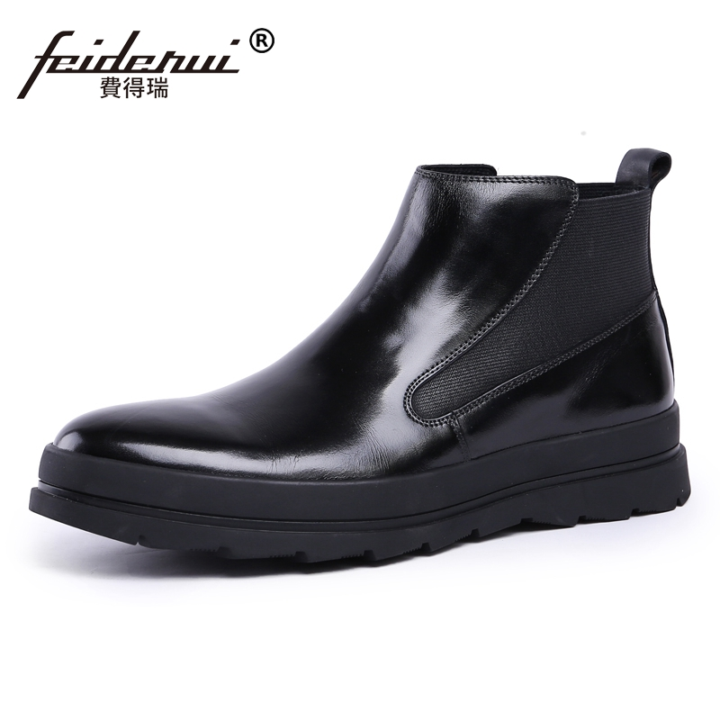 все цены на New Arrival Man Flat Platform High-Top Chelsea Shoes British Designer Genuine Leather Men's Martin Cowboy Ankle Boots JS54 онлайн