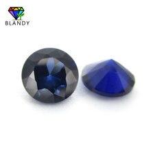 #34 синий камень 3,0 ~ 12 мм, искусственный камни для ювелирных изделий, Круглые, свободные, с блестящей огранкой, с голубым корундом