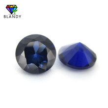 #34 Blue Stone 3.0~12mm 5A Quality Loose Round Brilliant Cut Blue Corundum Stone Synthetic Gems For Jewelry
