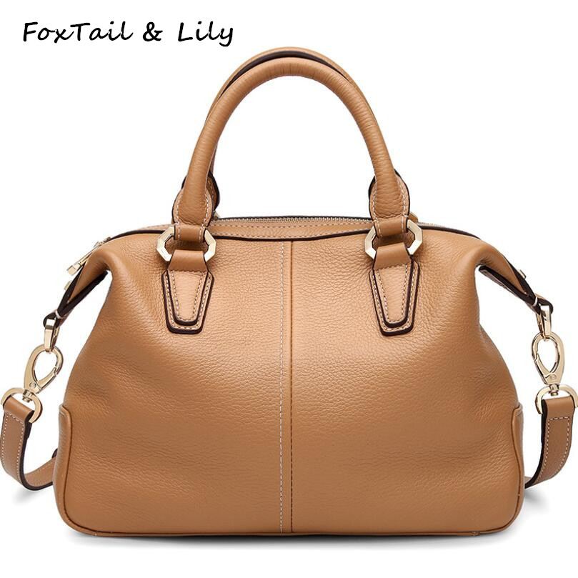 FoxTail Lily Genuine Cow Leather Handbags Women Famous Designer Leather Shoulder Messenger Bags Fashion Ladies Crossbody