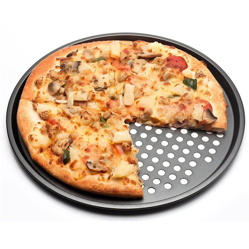 Carbon Stahl Antihaft Pizza Backform Tray 32 cm Pizza Platte Gerichte Halter Backformen Hause Küche Backen Werkzeuge Zubehör- schwarz