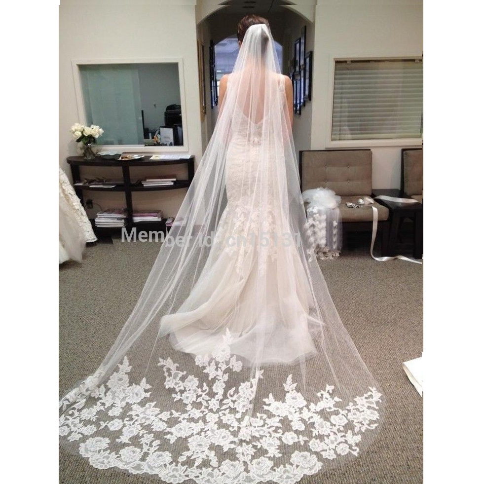 In Stock 3 Meter White Long Wedding Veil 2017 New Design Bridal Veil cathedral wedding veil