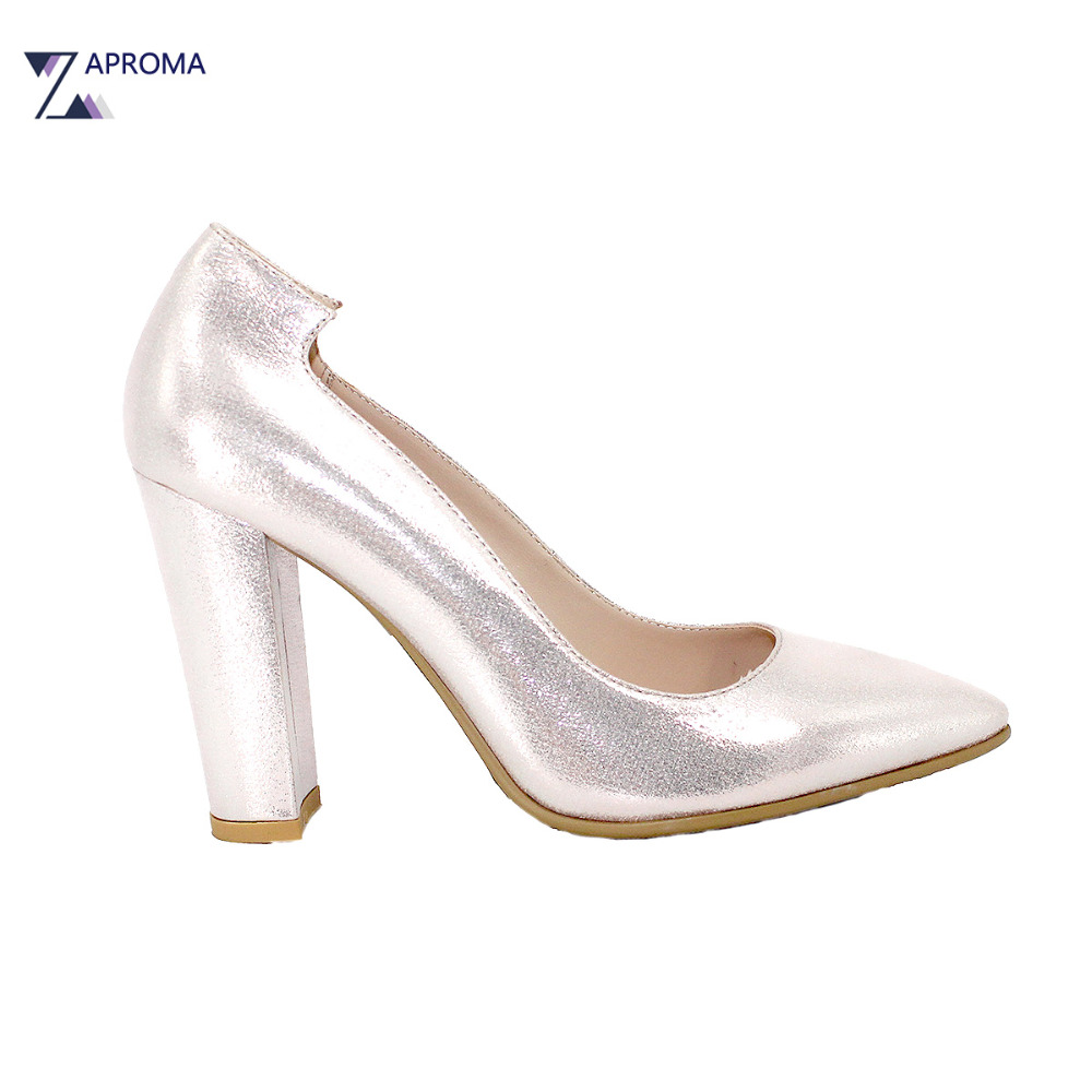 Silver Shoes Women Fashion Pointed Toe Super High Heel Pumps 2018 Party Ladies Square Heel Shoe Slip On Dance Prom Glitter Shoes women wedding silver shoes crystal sequins decor pumps lace slip on bridal super high heel round toe sexy ladies party shoes