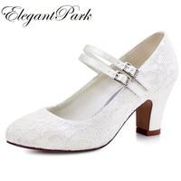Woman Shoes Wedding Bridal White Ivory Closed Toe Med Block Heel Comfort  Mary Jane lace Bride 79fe5870deb4