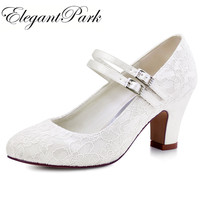 Woman Shoes Wedding Bridal White Ivory Closed Toe Med Block Heel Comfort Mary Jane lace Bride Lady Lace Prom Party Pumps HC1708