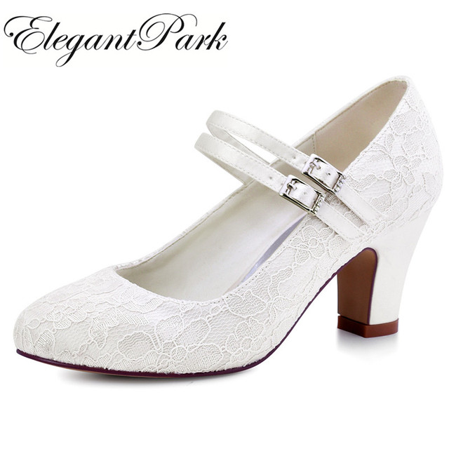 Women Wedding shoes White Ivory bride Mary Jane High heel Block Pumps lace  Satin Prom Party
