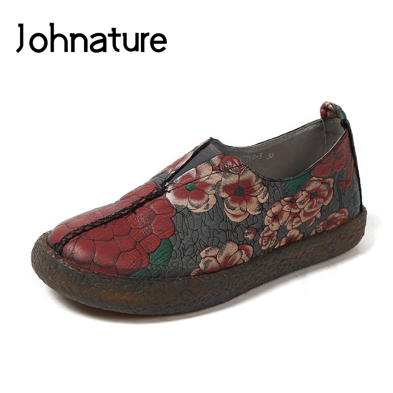 Johnature New 2019 Spring Autumn Genuine Leather Mixed Colors Sewing Round Toe Casual Retro Flower Slip
