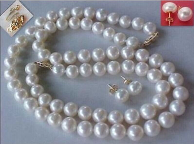 FREE SHIPPING HOT sell new Style >>>> 179 10MM NATURAL Aus. SOUTH SEA GENUINEwhite PEARL NECKLACE earrings