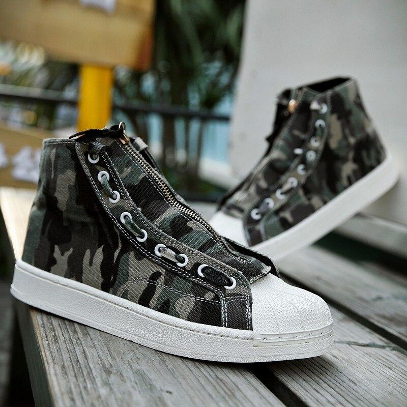 2019 Sprin Gray Graffiti Casuais Dos Sapatos Calçados Selvagens Homens Shell Altos green De Novos Lona Cabeça ASnwq4W