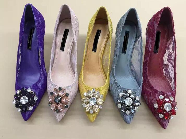 ФОТО 2017 Spring newest crystal lace high heel shoes sexy pointed toe stiletto heels rhinestones woman wedding heels black pink red
